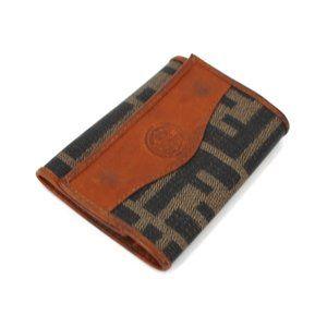FENDI Brown Leather FF Zucca Trifold Key Holder